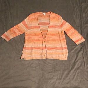 J. Jill Cotton Linen Blend Peach Cardigan EUC Sz L